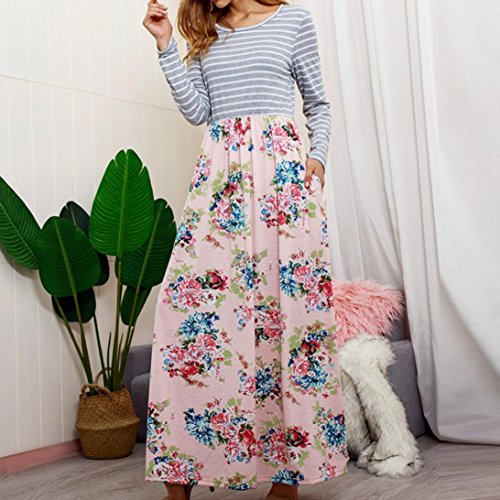 Rambling Women's Casual Striped Long Sleeve Floral Print Bohemian Tank Dresses Party Evening Long Maxi Dresses with Pockets by Rambling (Image #3)