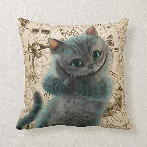 CELYCASY Alice Thru The Looking Glass Cheshire Cat Grin Decorative Pillow Case Cushion Cover Sofa Bedroom Lumbar Throw Pillow Case 18x18 inches (Personalized Cat Throw)