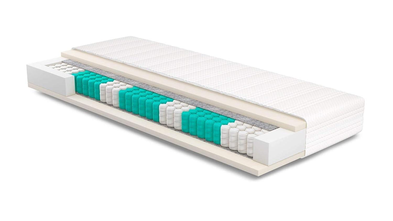 AS Meister SERA H2 Matratze 110x240 cm - Basic Bezug - Orthopädische 7-Zonen 260 F/m² 23cm Taschenfederkernmatratze 110 x 240 cm