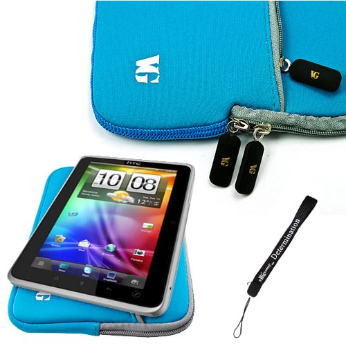 Baby Blue Slim Protective Soft Neoprene Cover Carrying Case Sleeve with Extra Pocket // Fits Anywhere// for HTC Flyer 3G WiFi HotSpot GPS 5MP 16GB Android OS AD2P 7 Inch Tablet Device + Includes a eBigValue (TM) Determination Hand Strap by eBigValue