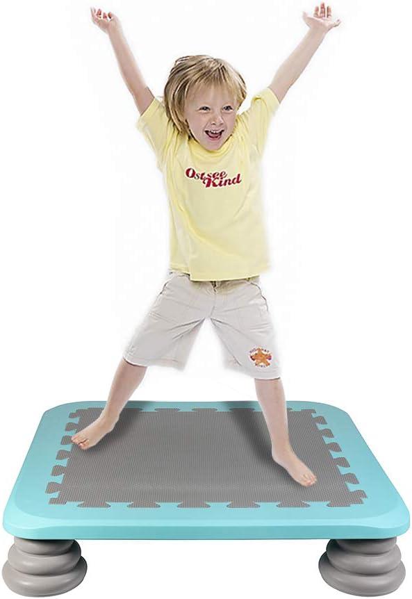 HAPPYMATY Cama elástica para interior con muelles y colchón, juego de equilibrio, cama elástica para niños, colchoneta de gimnasia, esterilla de saltar, colchón plegable para fitness