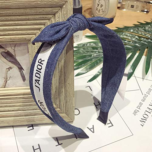 Retro Cowboy Fabric Letter Bows Hair Accessories for Girls Knitted Headbands Hoop Fashion Denim Headband Hair Accessories -