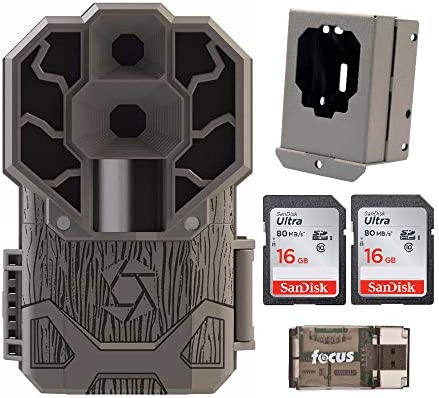 Stealth Cam Dual Sensor STC-DS4K Trail Camera 4K Video, 30 MP with Security Box, 2 Memory Cards and Reader 5 Items