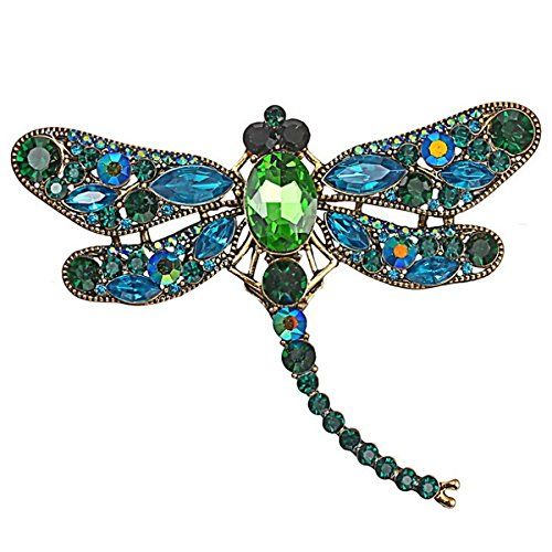 Merdia Dragonfly Brooch Pin with Imitated Crystal Charm Flying Insect Alloy Brooch ()