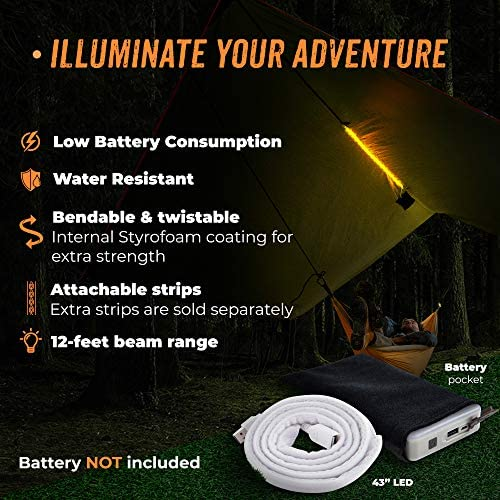 BYOND Rain Fly Hammock Tent Tarp Unique Velcro LED Strip – Waterproof Camping Travel 11.5 x 10 ft Tarp for Outdoor