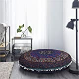 Mandala Cushion Cover Purple Pouf Cover Round Mandala Decor Living Room Cushion Cover Round Large Indian Floor Cushion Cover Cotton Yoga Seating Pouf Cover 32 Inch By Darjii