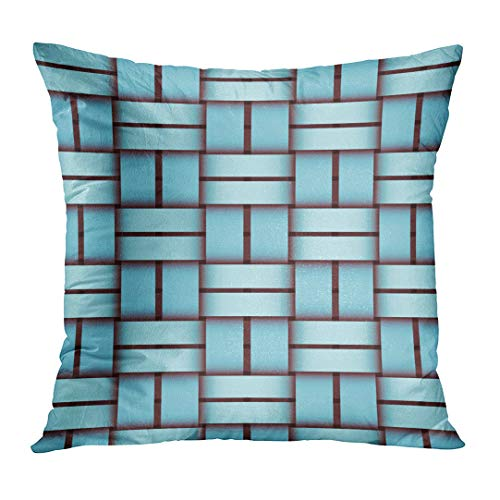 Throw Bamboo Woven (Emvency Throw Pillowcase Abstract Turquoise Woven Pattern for Sites Labels Leaflets Architecture Bamboo Basket Braid Closeup Fashion Square Size 16 x 16 Inches Zippered Home Decor Cushion Covers)