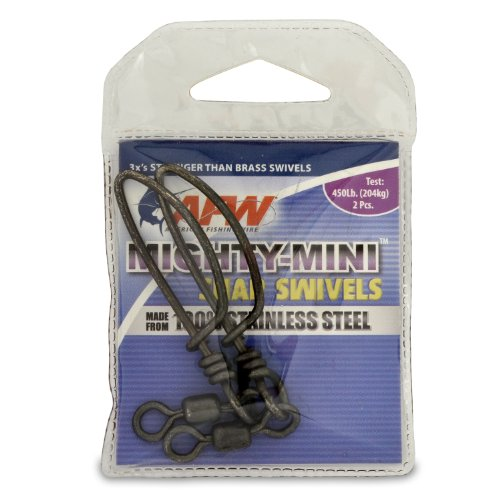 American Fishing Wire Mighty Mini Snap Swivels (100-Percent Stainless Steel), Black Color, Size 2/0, 450 Pound Test, 2-Pieces (Crane Swivels Stainless Steel)