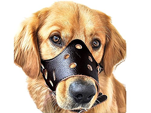 Dog Bark Muzzle - Leather Dog Muzzle, Adjustable Anti-biting and Anti-barking Breathe Freely and Safety Dog Leather Muzzle (S, BLACK)