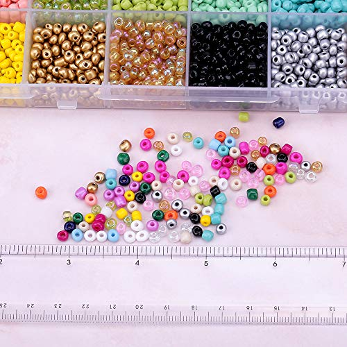 Efivs Arts Glass Seed Beads,24 Colors 6/0 4mm Small Pony Beads Multicolor Beading Beads with Container Box for Jewelry Making - Approx 5600pcs