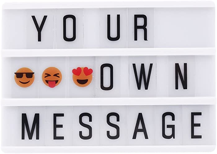 Mini Cinema Light Box with 90 Letters, A6 Size Free Combination Cinematic Light Box DIY LED Letter Lamp for Home Decor, Birthday Party,Wedding