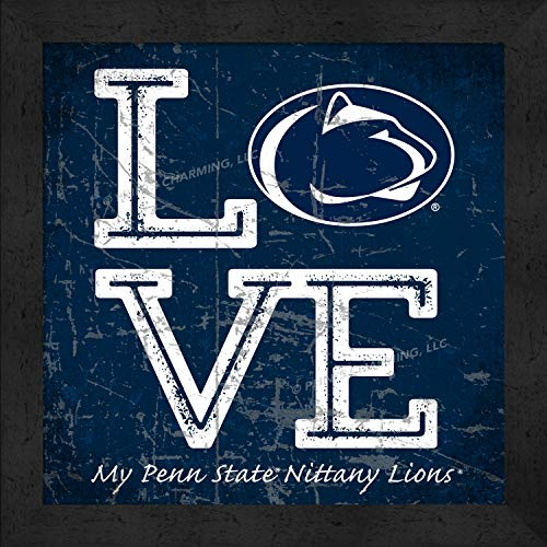 Prints Charming College Love My Team Logo Square Color Penn State Nittany Lions Framed Posters 13x13 Inches