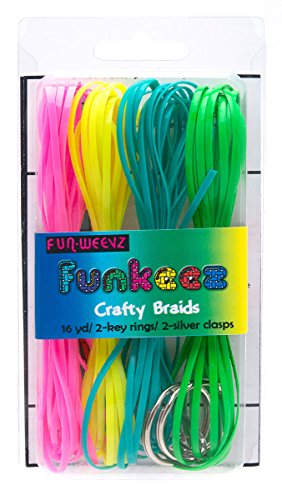 - Fun Weevz Funkeez Flat Pink Yellow Turquoise Green Cord Crafty Braid Kit