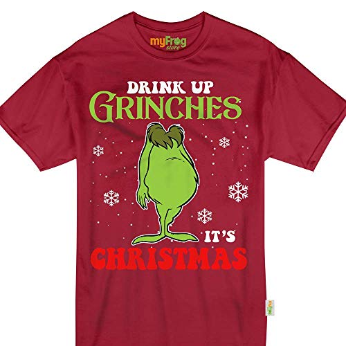 My Frog Store Drink Up Grinches It's Christmas Funny Drunk Wine Beer Party Tshirt -