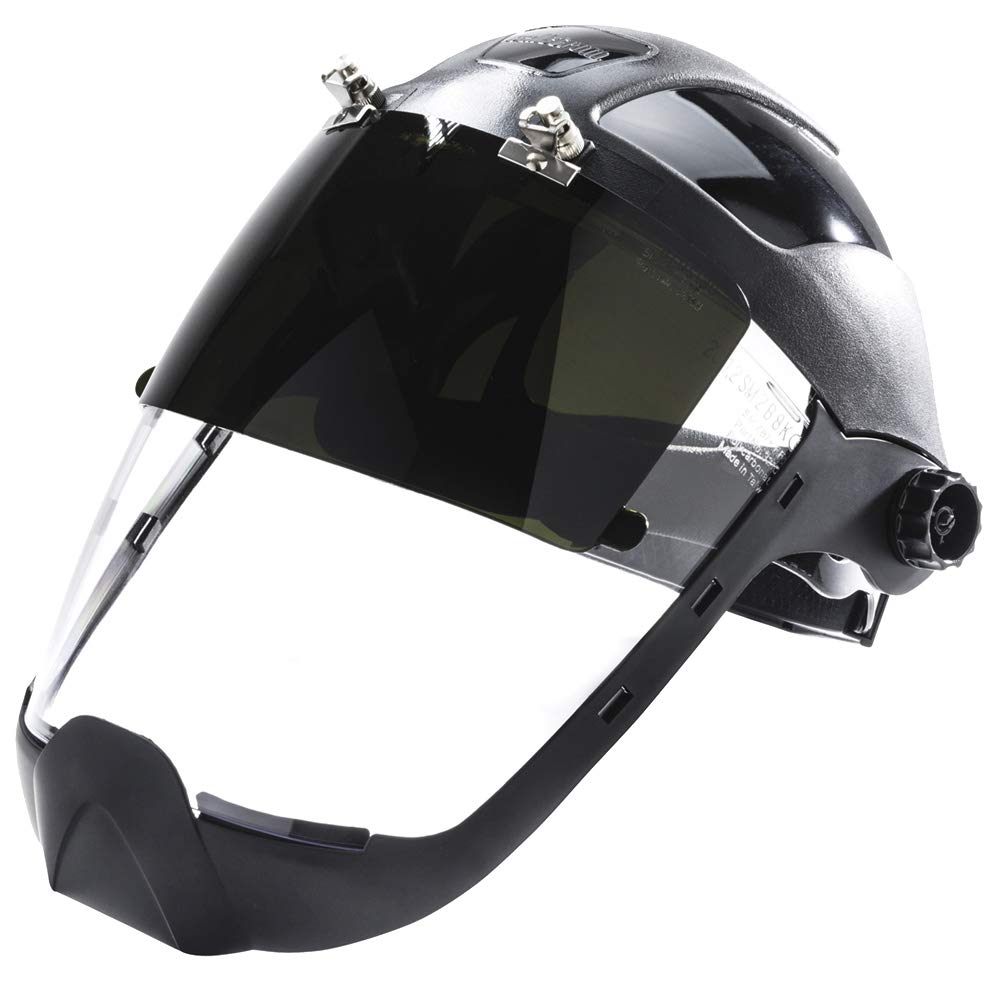 Sellstrom S32251 Clear Anti-Fog Polycarbonate Plasma/Flame Cutting, Grinding Face Shield with Shade 5 UV/IR Flip Front Window with Extended Chin Guard, Ratchet Headgear by Sellstrom