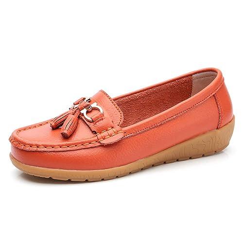 Topcloud Mocasines Planos de Cuero para Mujer Mocasines Planos Zapatos náuticos Mocasines Opcional: Amazon.es: Zapatos y complementos