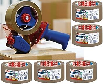 50 mm x 66 m mit Abroller Tesapack 2 Stück Verpackungsklebeband PVC braun