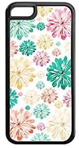 01-Scattered Flowers-Pattern-Case for the APPLE IPHONE 6 ONLY-NOT FOR THE IPHONE 6 PLUS!!!-Hard Black Plastic Outer Case