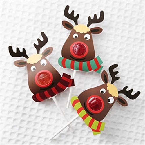MONOMONO-25pcs/pack Christmas Elk DIY Lollipop Stick Deer Candy Paper Xmas Party Decor