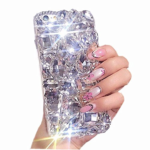 LG Stylo 4 Case, LG Q Stylus Full Crystal Diamond Case, 3D Handmade Luxury Sparkle Crystal Rhinestone Diamond Glitter Bling Clear TPU Silicone Case Cover for LG Stylo 4 ()