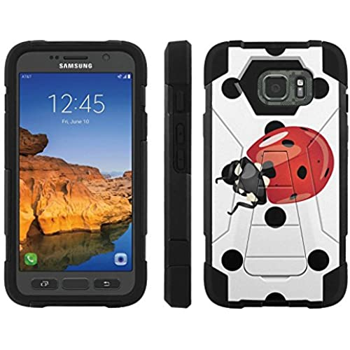 AT&T [Galaxy S7 Active] ShockProof Case [ArmorXtreme] [Black/Black] Hybrid Defender [Kickstand] - [Polka Dot Lady Bug] for Samsung Galaxy [S7 Active] Sales