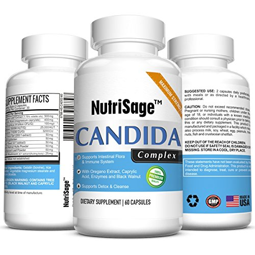 Premium Candida Cleanse - Fights Candida Yeast Infection & Overgrowth -Natural Cleansing Detox Supplement with Antifungal Cleaner Herbs, Oregano & Caprylic Acid For Candida Fungus - Order Risk Free