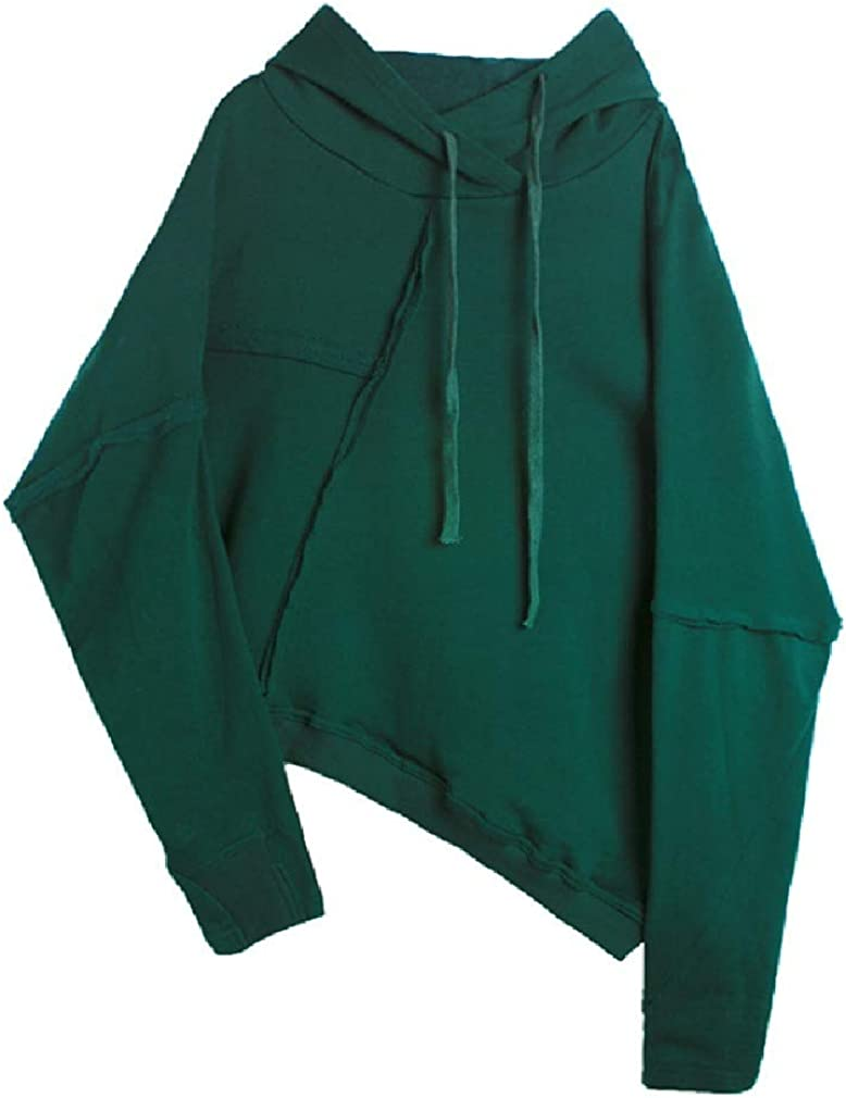 CuteRose Mens Modern Batwing Sleeve Drawstring Sports Solid Sweatshirt Hoodies