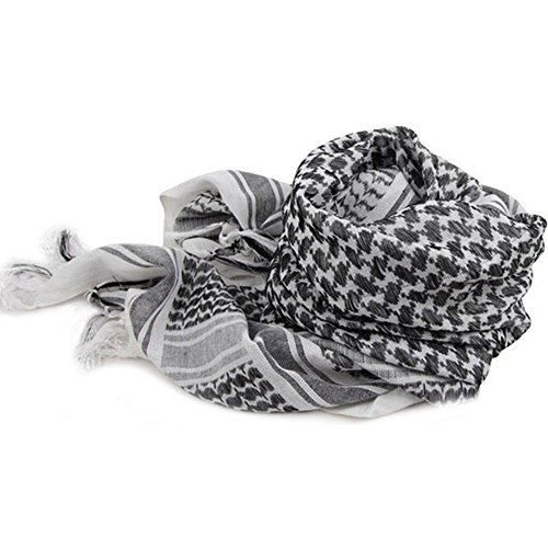 Auntwhale Tactical Desert Scarf Arabic Head Wrap Military Head Scarf Cotton Windproof Multifuction Tassel Headscarf Three Colors Square Headscarf [ 1Pc ]