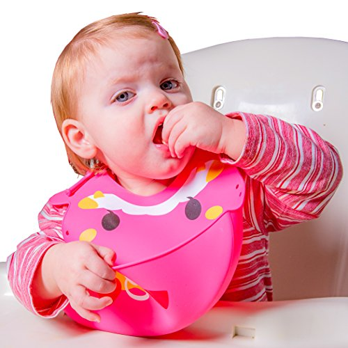 [Baby Bib with Smart Food Catcher | Comfy 3-Way Fitting Suitable for Infants, Toddlers, Children of All Ages | Ultra Soft, Waterproof and Easily Wipes] (Infant Red Minnie My First Disney Costumes)