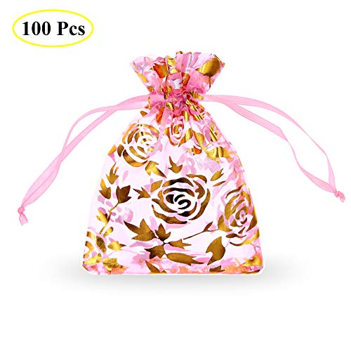 - SumDirect Drawstring Organza Bags, Jewelry Favor Pouches with Gold Rose Print for Gift,Wedding,Party,Festival,100Pcs,3.5x4.5inches,Pink