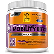 Senior Advanced Hip & Joint Chewables for Dogs - Glucosamine HCL, Chondroitin Sulfate, Curcumin & OptiMSM Supplement - Mobility Treats for Pets with New Zealand Green Lipped Mussel
