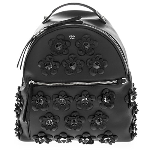Fendi-Womens-Tone-on-Tone-Flowerland-Flowers-Backpack-with-Mesh-Back-Black