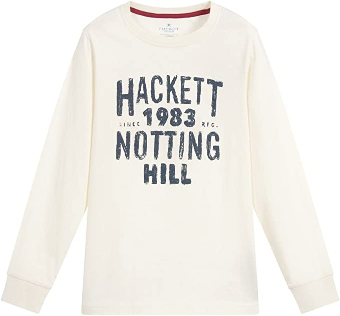 Hackett London - Camiseta de Manga Larga - para niño Marfil Winter ...