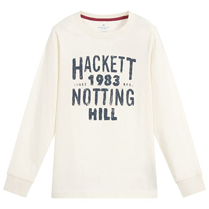 Hackett London - Camiseta de Manga Larga - para niño Marfil Winter ...
