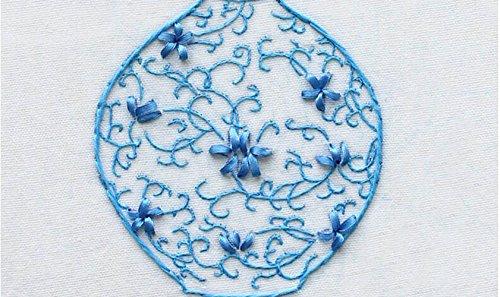 Wandafull Ribbon embroidery Kit Handmade Green flower vases(No frame)