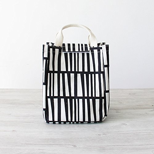 Hand-held Fashionable Lunch Tote Bag - KCASA Canvas Travel Picnic Cooler Insulated Handbag Storage Bag 1.8L for Woman Girls Kids (Black and White Stripe)