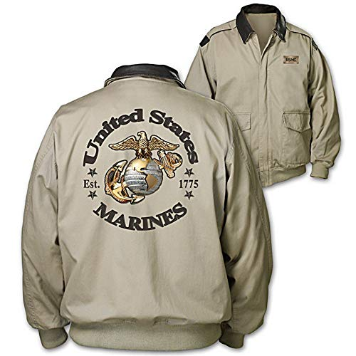 Bradford Exchange Marines Forever Men's Twill Jacket with Embossed Plaque (M)