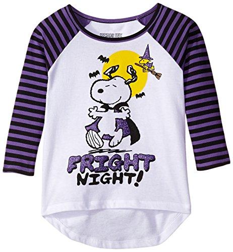 Hybrid Big Girls' Peanuts Fright Night Raglan Halloween T-Shirt, White/Purple, Medium (Girls Halloween Shirts)