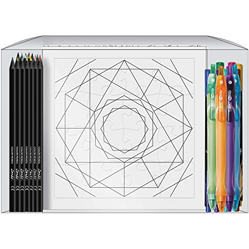 BIC Geo-Fun Color Your Own Puzzle Activity Kit, 36-Count, Assorted Pens and Colored Pencils Included (KGFP36-AST)