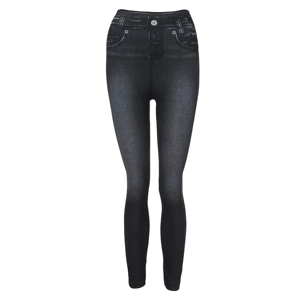Baigoods Women Denim Pants Pocket Slim Leggings Fitness Plus Size Leggins Length Jeans Plus Cashmere Winter