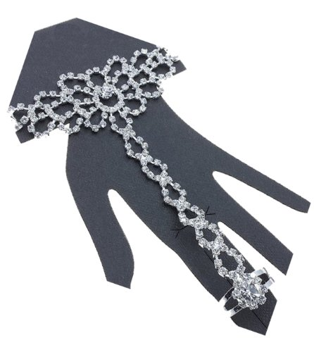 - V G S Eternity Fashions Jewelry Bracelet Ring~ Rhinestone Crystal Hand Chain Slave Bracelet Ring (Silvertone)
