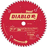 Freud D0756N Diablo 7-1/4 56 Tooth TCG Non-Ferrous Metal and Plastic Cutting Saw Blade with 5/8-Inch Arbor, Diamond Knockout, and PermaShield Coating