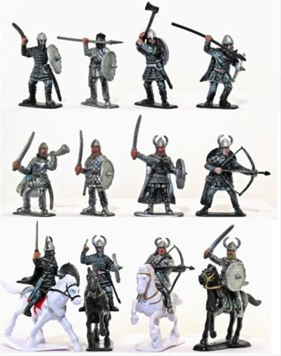 Plastic Toy Soldiers Medieval Vikings Painted Figure Set No.1 1/32 Scale 16 Pieces with Horses and Weapons! Marx Type Army Men Figures by Sunjade