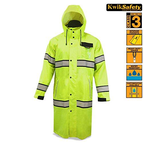 KwikSafety Long Yellow Trench Coat | Reflective Raincoat ...