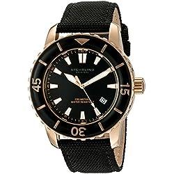 Stuhrling Original Men's 3266.01 Aquadiver Vector Swiss Quartz Date Luminous Black Canvas Strap Watch