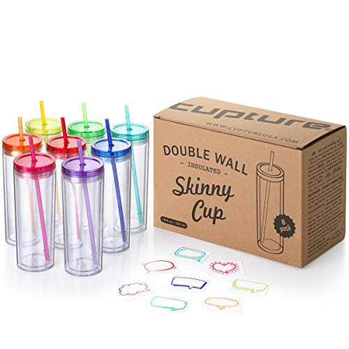 Cupture Skinny Acrylic Tumbler Cups with Straws - 18 oz, 8 Pack (Assorted Colors) -