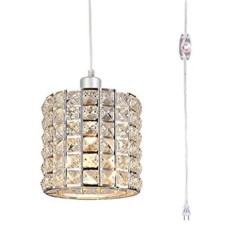 Kiven Plug in Modern Crystal Chandelier Swag Pendant Light with Clear 14.76' Cord and in-Line On/Off Dimmer Switch, Chrome Finish (Chrome Switch Dimmer)