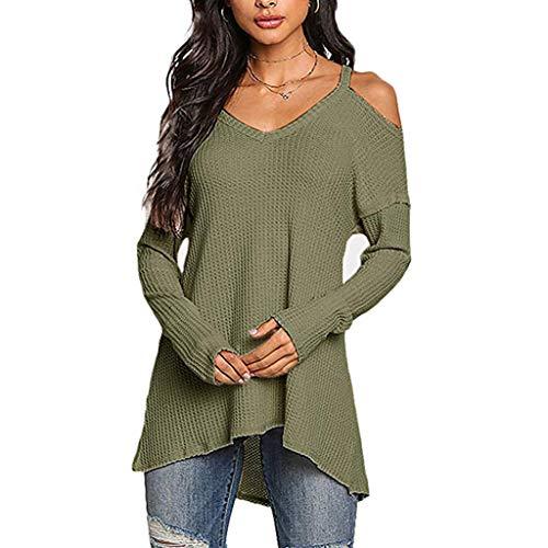 Xturfuo 2019 Spring Women's Long Sleeve Off Shoulder Sling Irregular Hem Top Army Green