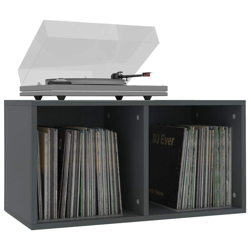 FESTNIGHT Caja para Almacenar vinilos Caja para Discos de Vinilo Aglomerado con 2 Compartimentos 71x34x36 cm