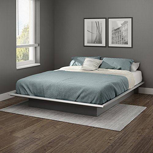 South Shore 10438 Step One Queen Platform Bed (60''), Soft Gray, 60